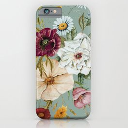 Colorful Wildflower Bouquet on Blue iPhone Case