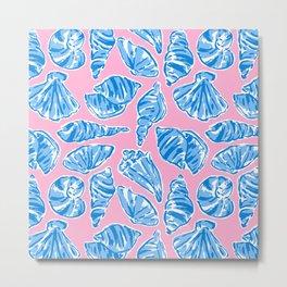 Blue Shells on Pink Metal Print