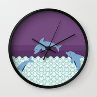 dolphins Wall Clocks featuring Dolphins by Eunice Wong