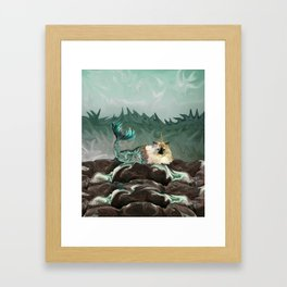 Behold the Mythical Merkitticorn - Mermaid Kitty Cat Unicorn Framed Art Print
