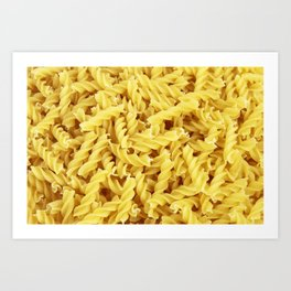 Yellow spiral pasta pattern Art Print