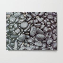 Black Sand Beach Up Close Metal Print