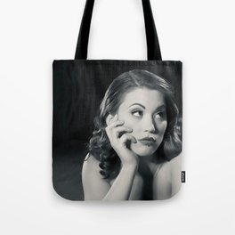 """Bored Now"" - The Playful Pinup - Modern Boudoir with Piercing by Maxwell H. Johnson Tote Bag"