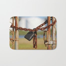 Rusty Chain With Padlock Bath Mat