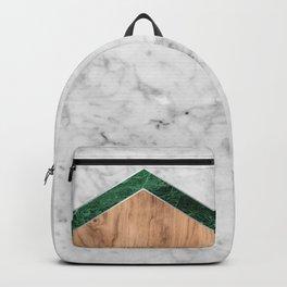 Arrows - White Marble, Green Granite & Wood #941 Backpack