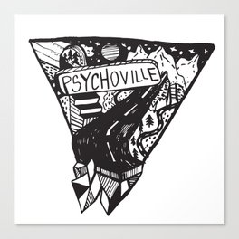Psychoville black ink drawing Canvas Print