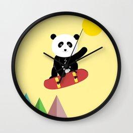 Panda on a skateboard Wall Clock