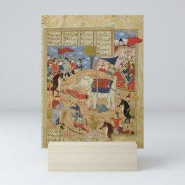 Bahram Chubina cutting off Sava Shah's head after defeating him, Persia, Shiraz, mid-16th century Mini Art Print