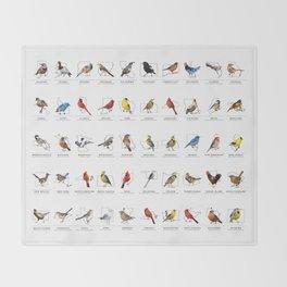 50 State Birds (White) Throw Blanket