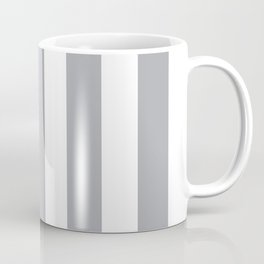 Metallic silver grey - solid color - white vertical lines pattern Coffee Mug