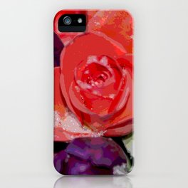 Snow settling on a top of Bouquet of flowers iPhone Case