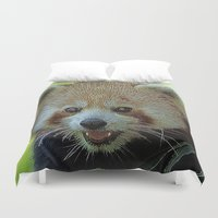 red panda Duvet Covers featuring red Panda by MehrFarbeimLeben