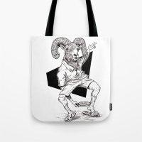 ram Tote Bags featuring Ram by Hopler Art