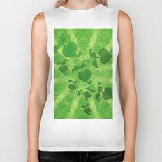 Vine leaves on green kaleidoscope Biker Tank