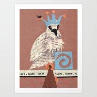 Birds Wearing Clothes - Tiara Art Print