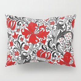 William Morris Iris and Lily, Black, White and Red Pillow Sham