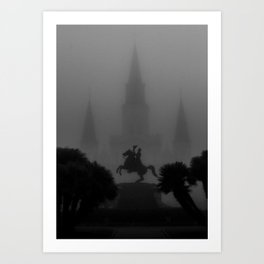 New Orleans, Jackson Square in fog, French Quarter black and white photograph / black and white photography Art Print
