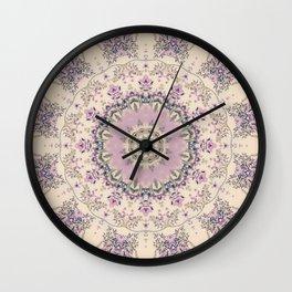 47 Wisteria Circle - Vintage Cream and Lavender Purple Mandala Wall Clock