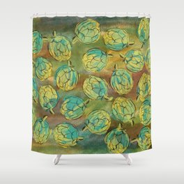 Artichokes on Green and Brown Background Shower Curtain
