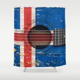Old Vintage Acoustic Guitar with Icelandic Flag Shower Curtain