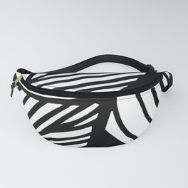 Artistic Black And White Overlapping Leaves Abstract Fanny Pack