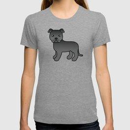 Black English Staffordshire Bull Terrier Cartoon Dog T-shirt