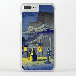 Japanese Woodblock Print Vintage Asian Art Colorful woodblock prints Shrine At Night Lantern Clear iPhone Case