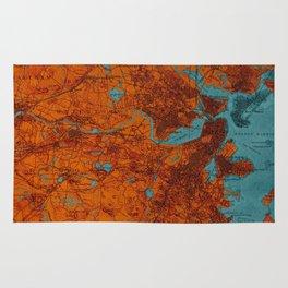 Boston 1893 old map, blue and orange artwork, cartography Rug