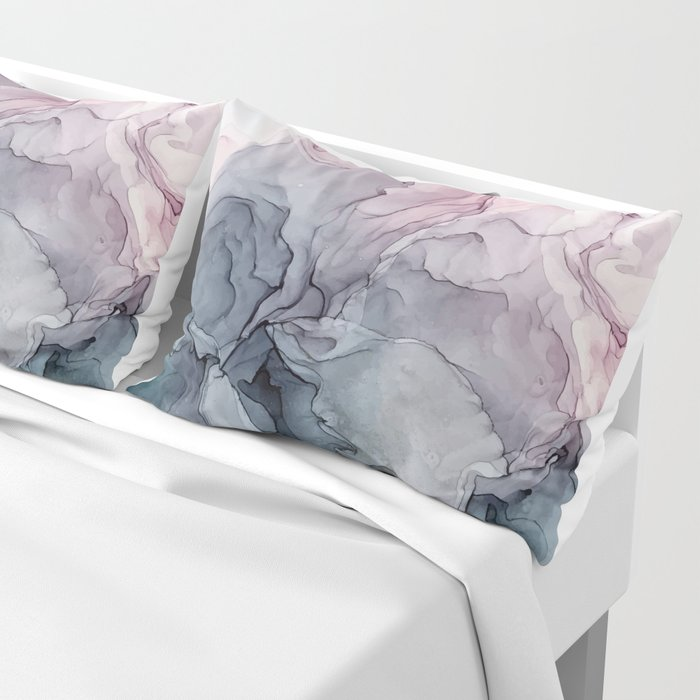 Blush and Payne's Grey Flowing Abstract Painting Pillow Sham