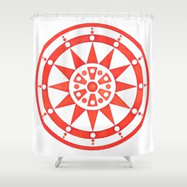 Radial Design Red No. 2 Shower Curtain