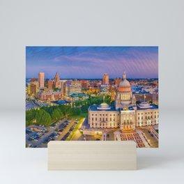 Downtown Providence, Rhode Island Twilight Cityscape landscape painting Mini Art Print