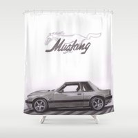 mustang Shower Curtains featuring Mustang 1991 by Artwork by Linda Reichert