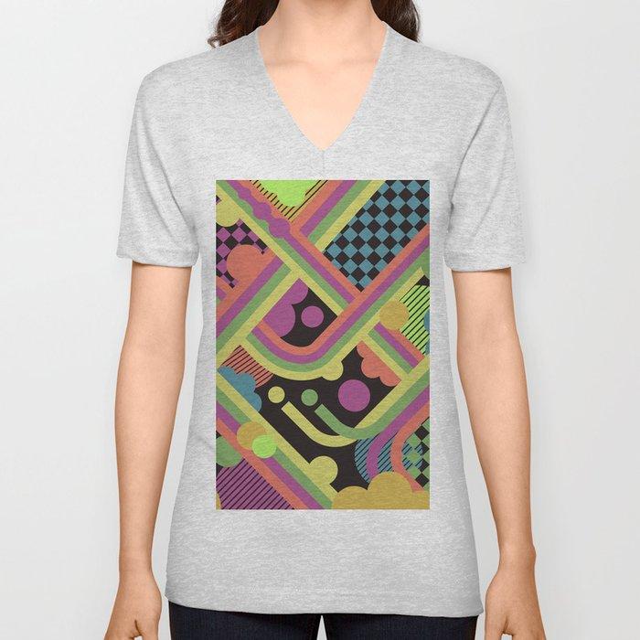 Multi-Color Geometric Fantasy Unisex V-Neck