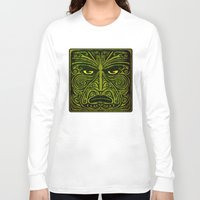 maori Long Sleeve T-shirts featuring Maori style 01 by Alexis Bacci Leveille