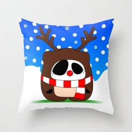 Panda Plopz (Reindeer) Throw Pillow
