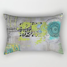 Teal & Lime Round Abstract Art Collage Rectangular Pillow