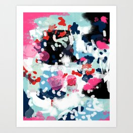 Aubrey - Abstract painting in bright colors pink navy white gold Art Print