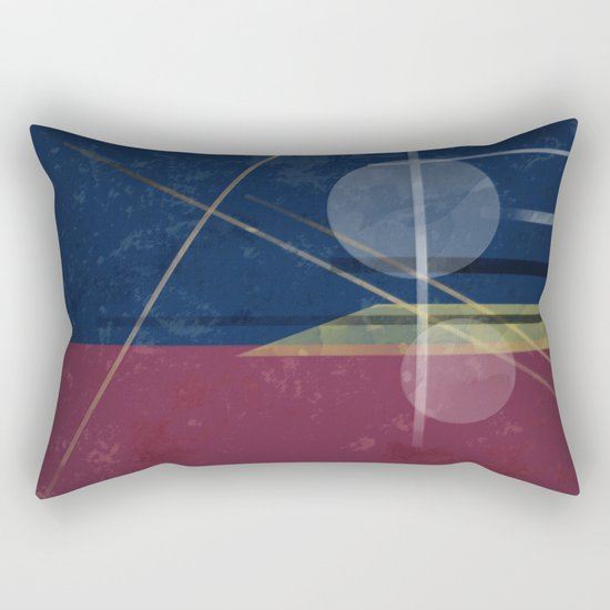 Abstract painting in blue red colours . Rectangular Pillow