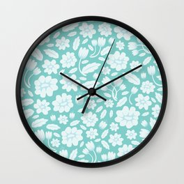 Blue Floral Wall Clock