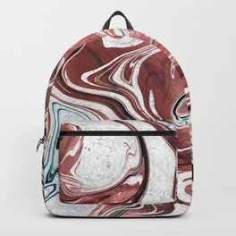 Marble Paint Swirl Trendy Abstract Glitter Rose Gold Teal Green White Backpack