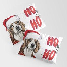 Hand Drawn Beagle Dog Portrait in Santa Hat and Snuggled in Plaid Blanket Pillow Sham