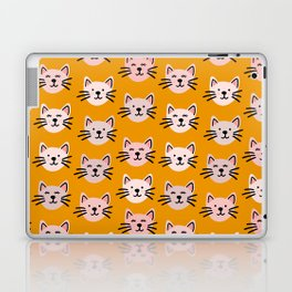 Cat pattern in mustard background Laptop & iPad Skin
