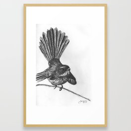 New Zealand fat fuzzy fantail Framed Art Print