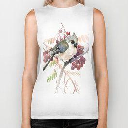 Cute Little Bird and Berries, Tufted Titmouse Biker Tank