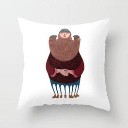 King Beardy Throw Pillow