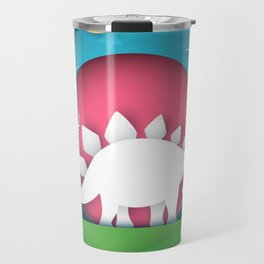 3D Paper Art Dino In the Mountains Travel Mug