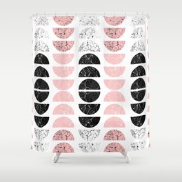 Marble Half-Moons in Pink Shower Curtain