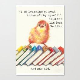 Little Red Hen Reads Canvas Print