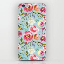 pink and blue watercolor peonies iPhone Skin
