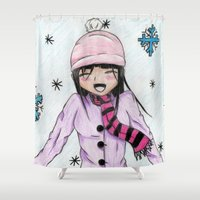 manga Shower Curtains featuring MANGA GIRL SNOW by LUCI-ART